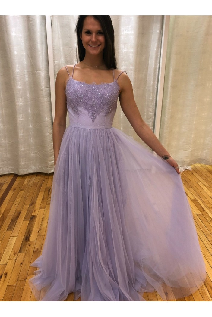 A-Line Beaded Lace Tulle Long Prom Dresses Formal Evening Gowns 6011582