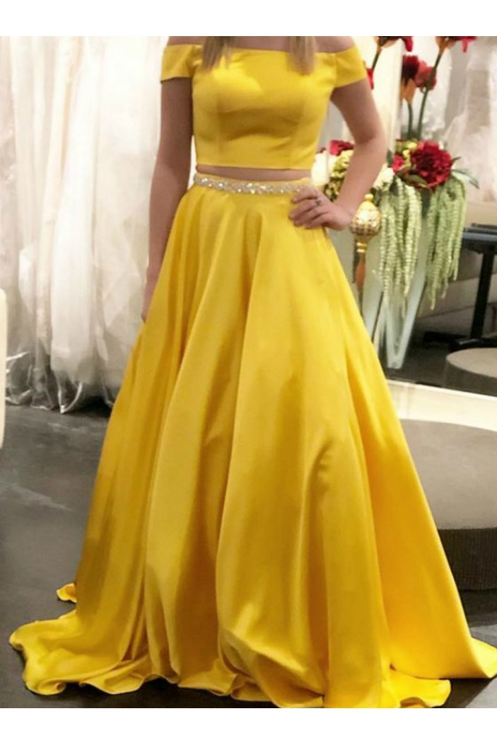 A-Line Beaded Long Two Pieces Prom Dresses Formal Evening Gowns 6011583