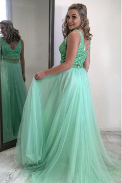 A-Line Beaded Two Pieces Long Prom Dresses Formal Evening Gowns 6011584