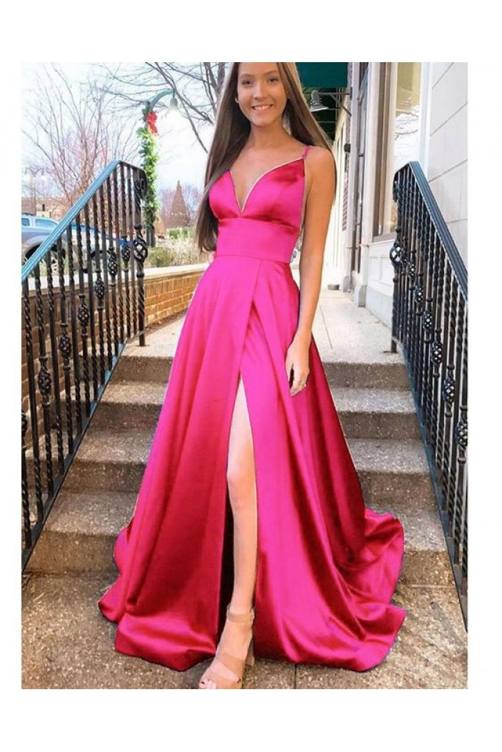 A-Line Long Satin V-Neck Prom Dresses Formal Evening Gowns 6011590