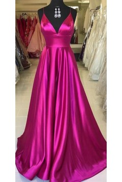A-Line Long Satin V-Neck Prom Dresses Formal Evening Gowns 6011591