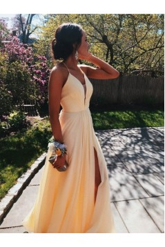 A-Line Long Red Chiffon Prom Dresses Formal Evening Gowns 6011594