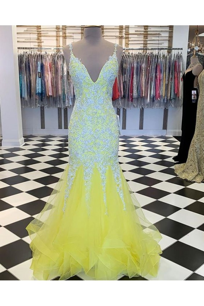 Mermaid Beaded Lace Long Prom Dresses Formal Evening Gowns 6011599