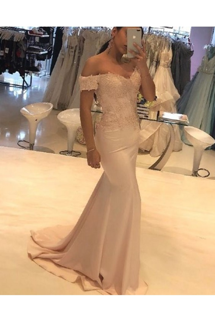 Mermaid Beaded Lace Off-the-Shoulder Long Prom Dresses Formal Evening Gowns 6011600