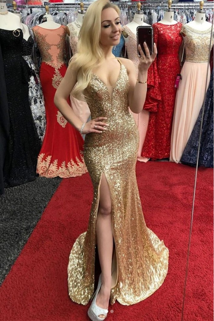 Mermaid Gold Sequins Long Prom Dresses Formal Evening Gowns 6011602