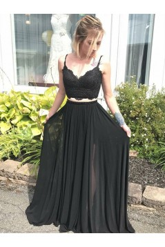 Long Black Beaded Lace Two Pieces Prom Dresses Formal Evening Gowns 6011606