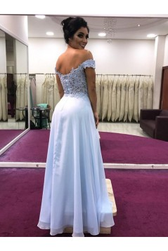 A-Line Beaded Lace Off-the-Shoulder Long Prom Dresses Formal Evening Gowns 6011608