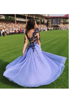 A-Line Lace Tulle Long Prom Dresses Formal Evening Gowns 6011609