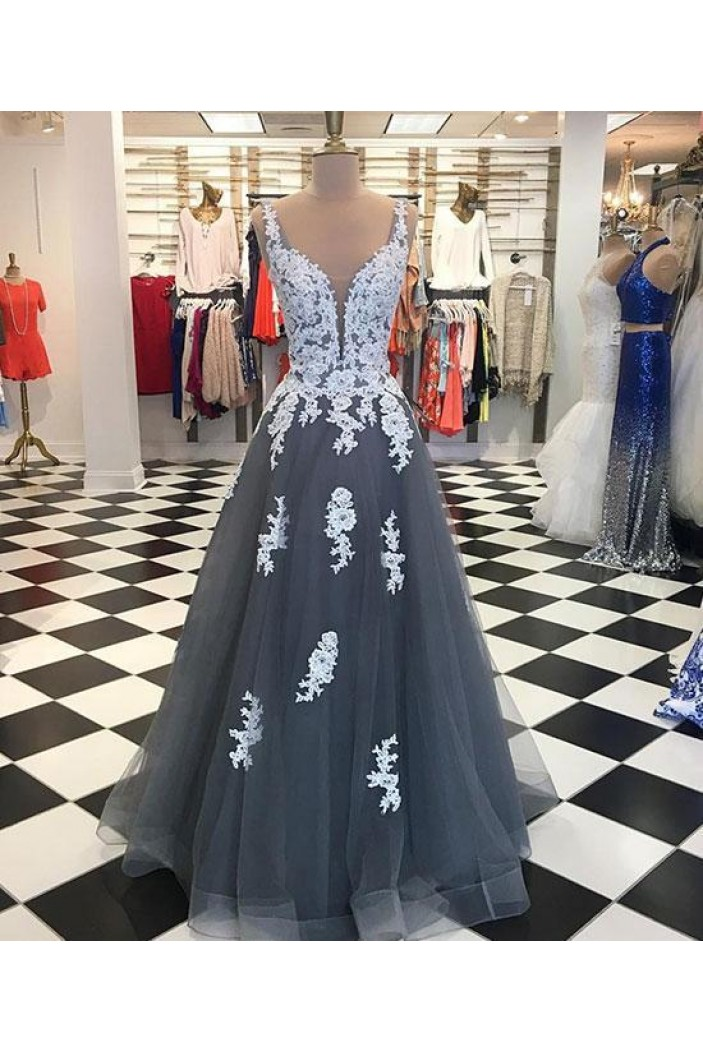 A-Line Lace Appliques Long Prom Dresses Formal Evening Gowns 6011611