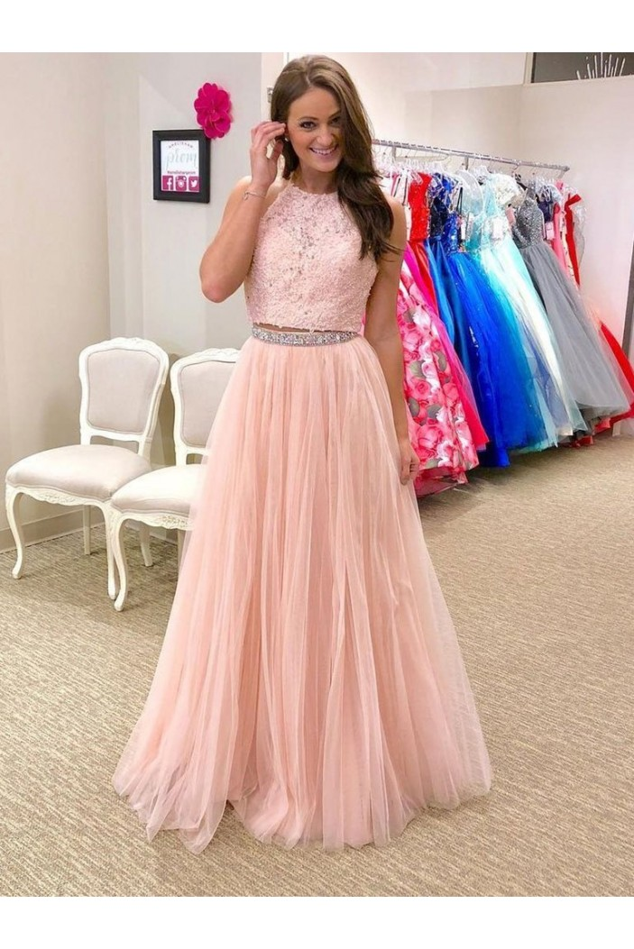 A-Line Beaded Lace Tulle Long Prom Dresses Formal Evening Gowns 6011612
