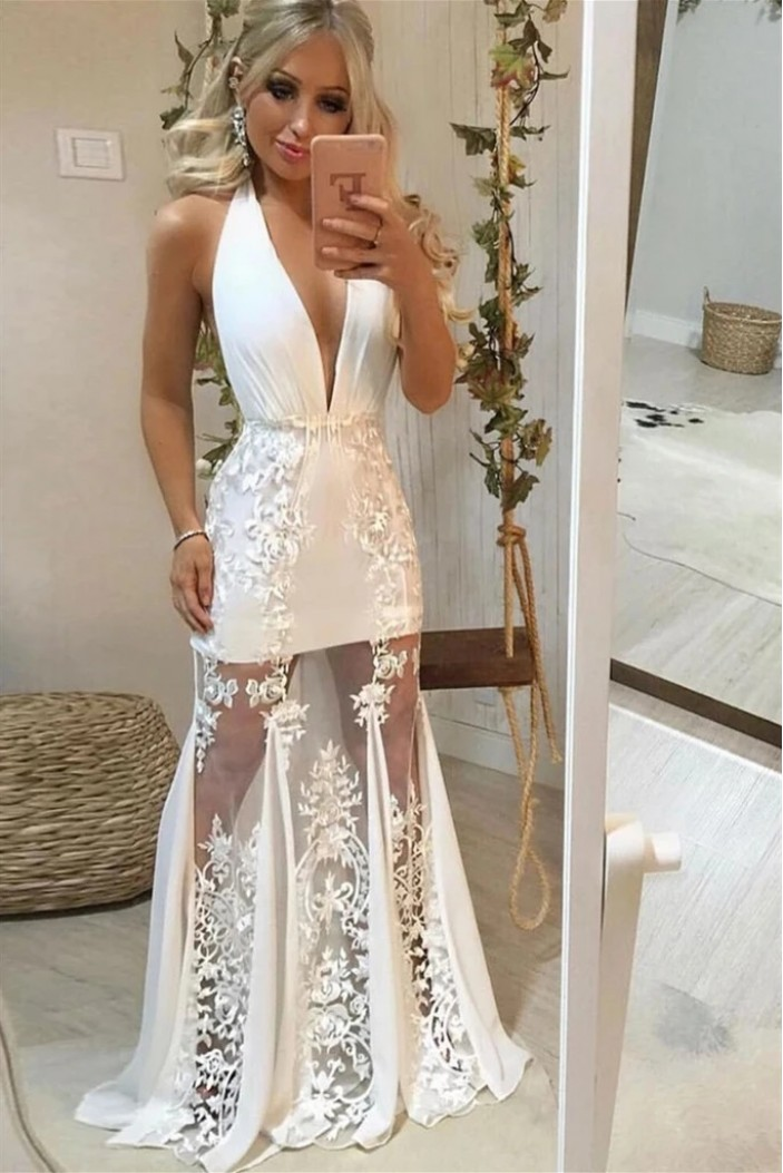 Long Lace V-Neck Prom Dresses Formal Evening Gowns 6011613