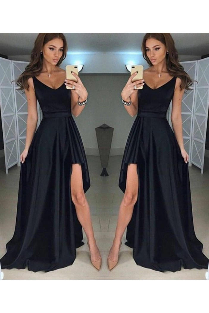 Long Black Asymmetrical V-Neck Prom Dresses Formal Evening Gowns 6011615