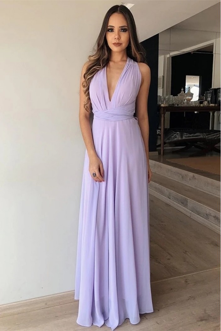 A-Line Chiffon V-Neck Long Prom Dresses Formal Evening Wedding Party Gowns 6011618