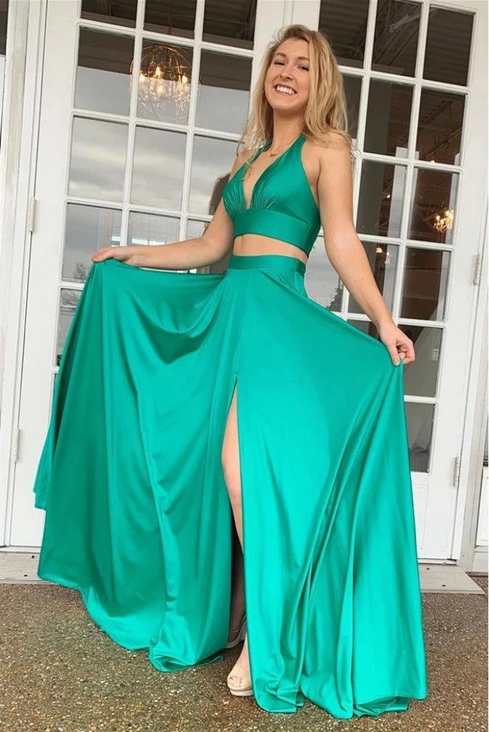 A-Line Two Pieces Long Green Prom Dresses Formal Evening Gowns 6011621