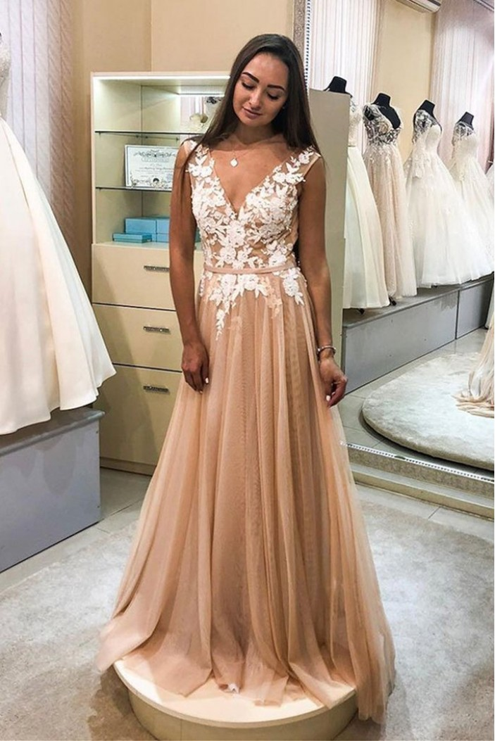 A-Line Tulle Lace V-Neck Long Prom Dresses Formal Evening Gowns 6011622