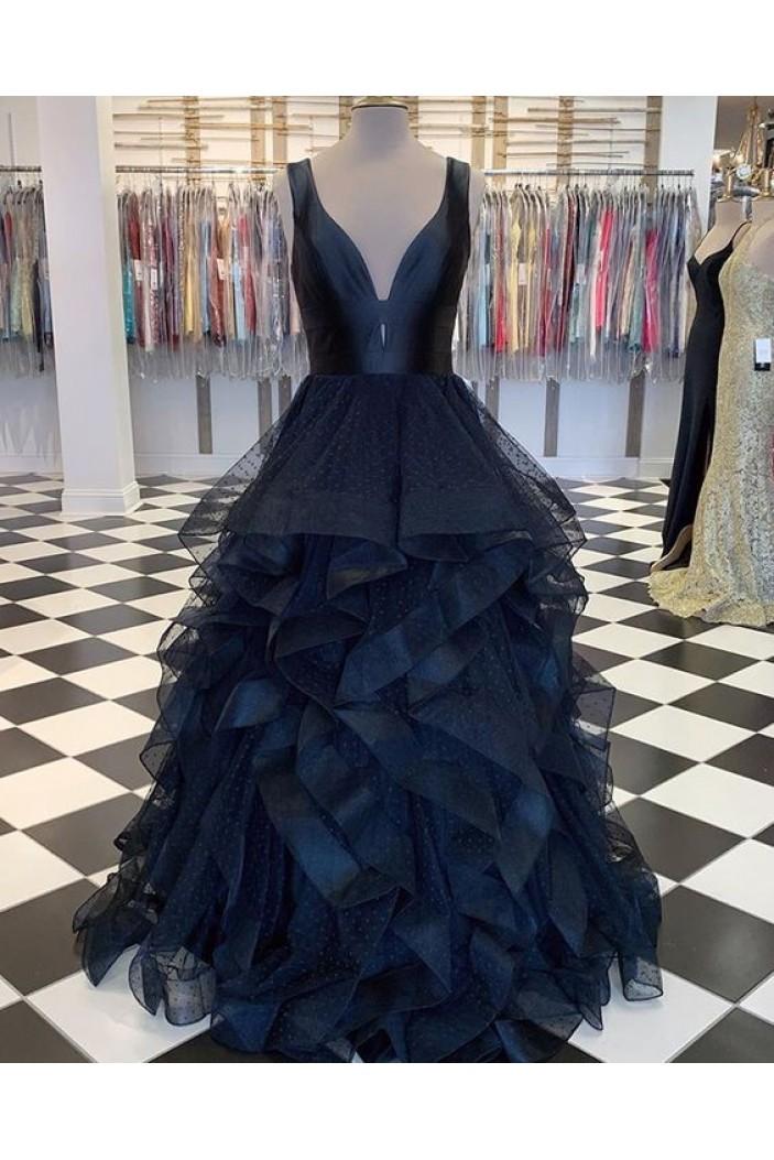 Long Navy V-Neck Prom Dresses Formal Evening Gowns 6011625