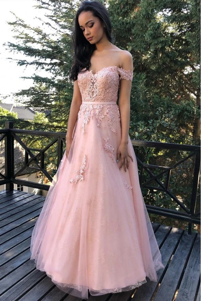 A-Line Long Pink Lace Prom Dresses Formal Evening Gowns 6011630