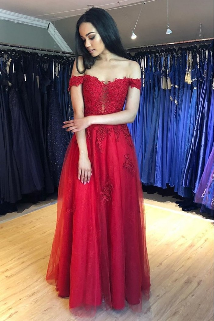 A-Line Beaded Lace Long Prom Dresses Formal Evening Gowns 6011635