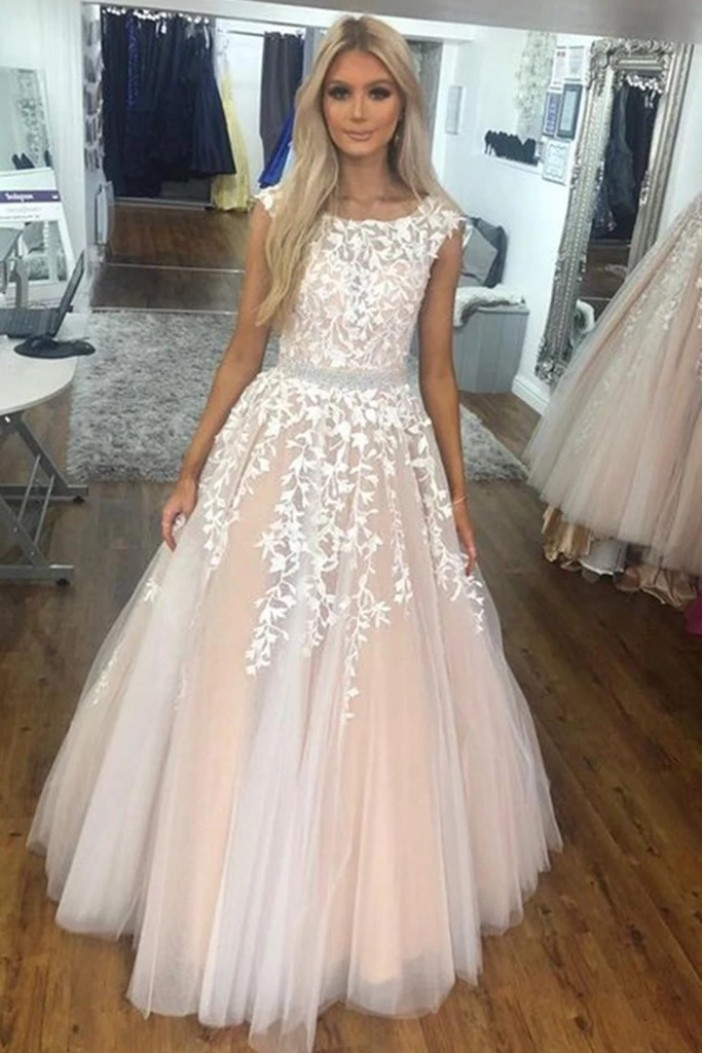 A-Line Beaded Lace Long Prom Dresses Formal Evening Gowns 6011636