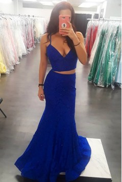 Mermaid Lace Two Pieces Long Prom Dresses Formal Evening Gowns 6011641