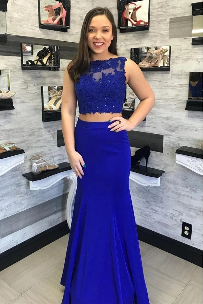 Mermaid Lace Two Pieces Long Prom Dresses Formal Evening Gowns 6011642