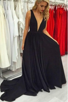 A-Line Long Chiffon V-Neck Prom Dresses Formal Evening Gowns 6011645