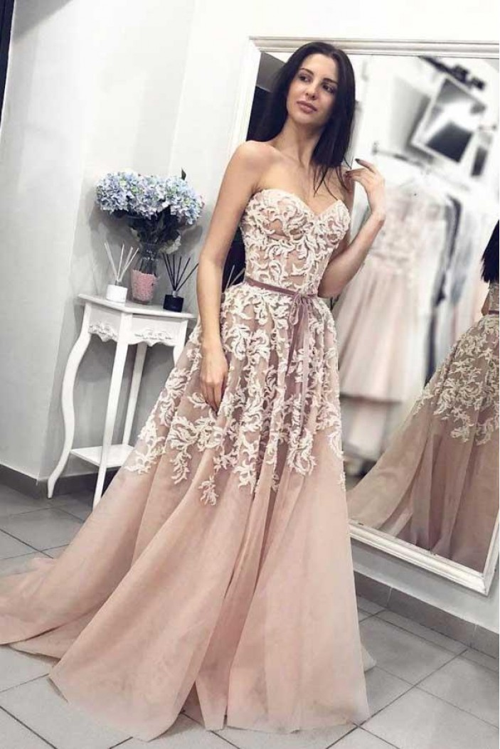 A-Line Lace Sweetheart Long Prom Dresses Formal Evening Gowns 6011646