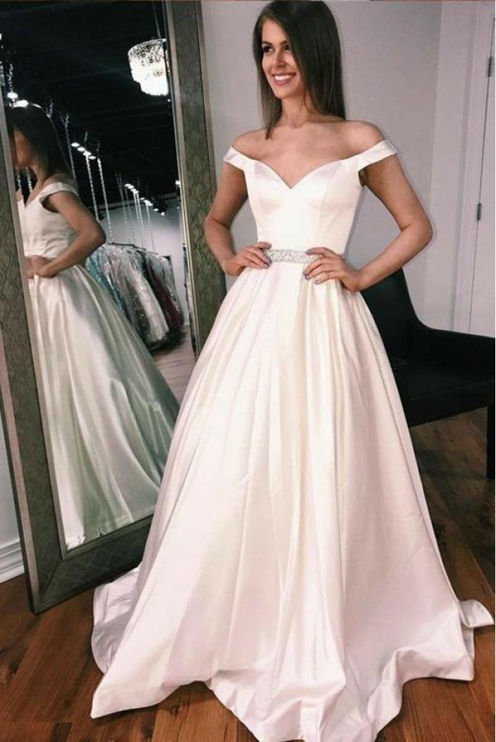 A-Line Beaded Off-the-Shoulder Long Prom Dresses Formal Evening Gowns 6011647