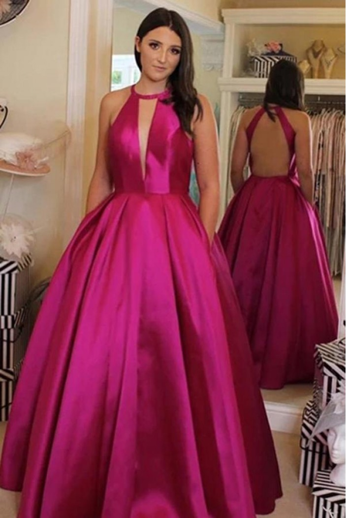 Ball Gown Satin Long Prom Dresses Formal Evening Gowns 6011648