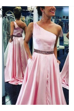 Beaded One-Shoulder Long Prom Dresses Formal Evening Gowns 6011652