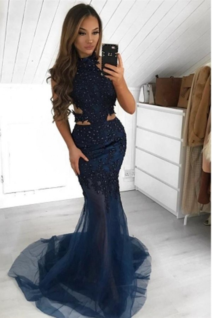 Mermaid Beaded Lace Long Prom Dresses Formal Evening Gowns 6011653