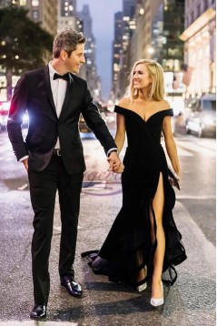 Long Black Off-the-Shoulder Prom Dresses Formal Evening Gowns 6011654