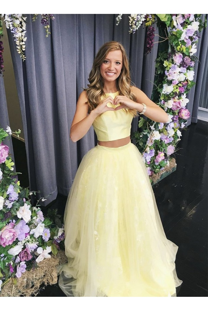 A-Line Two Pieces Long Yellow Prom Dresses Formal Evening Gowns 6011656