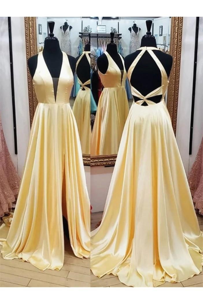 A-Line V-Neck Long Prom Dresses Formal Evening Gowns 6011657