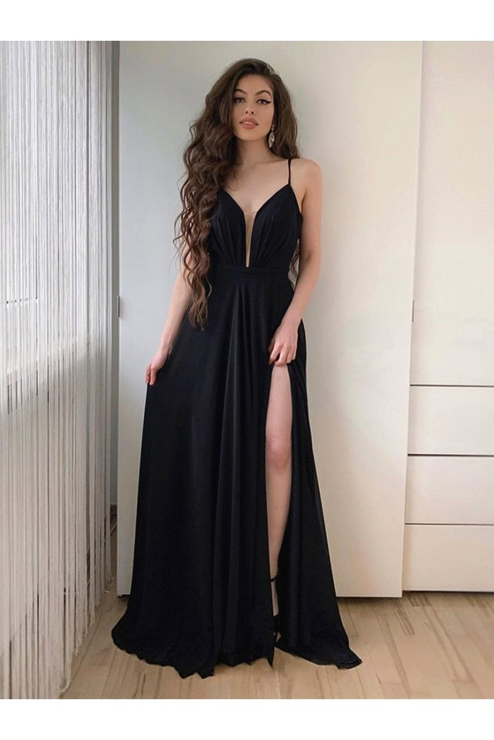 A-Line Long Black Chiffon Prom Dresses Formal Evening Gowns 6011658