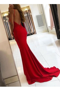 Long Red Mermaid Beaded Lace Prom Dresses Formal Evening Gowns 6011659