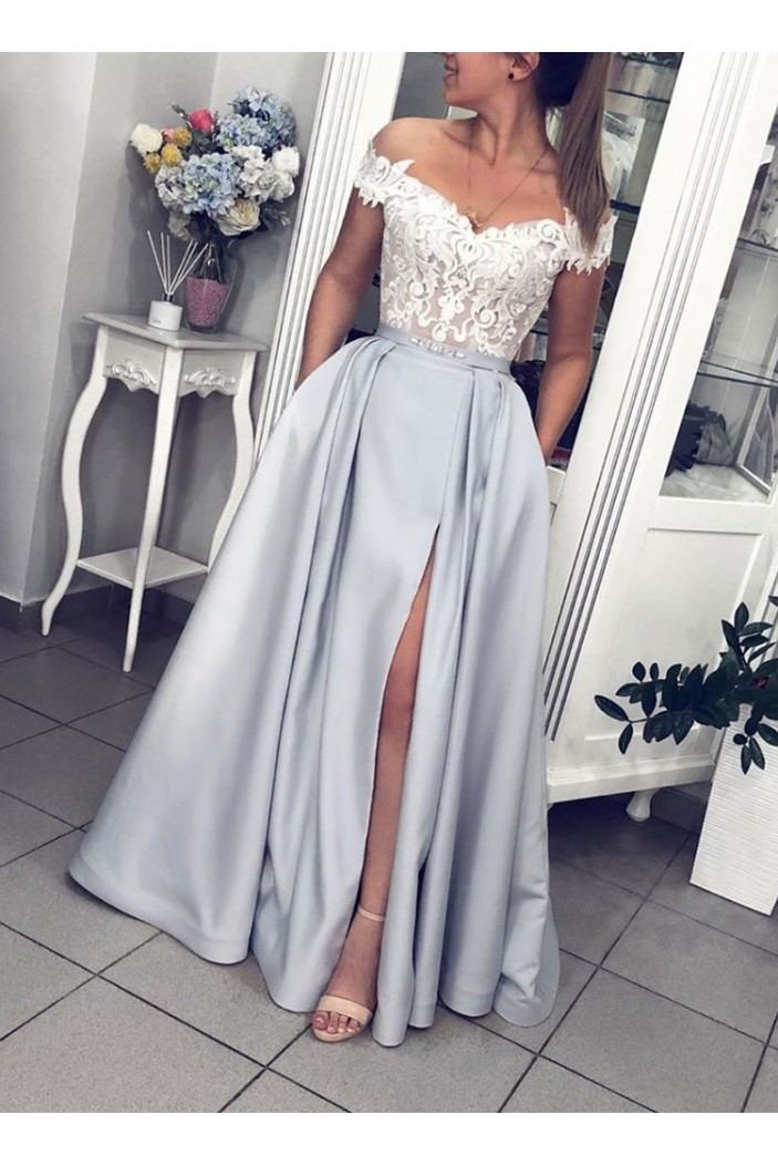 A-Line Lace Off-the-Shoulder Long Prom Dresses Formal Evening Gowns 6011660