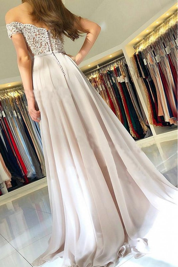 A-Line Off-the-Shoulder Prom Dresses Formal Evening Gowns with Lace Appliques 6011662