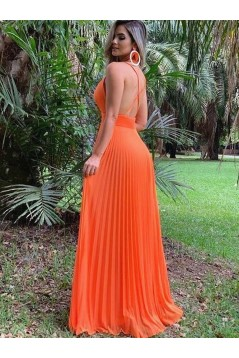 A-Line Spaghetti Straps V-Neck Long Prom Dresses Formal Evening Gowns 601813