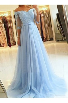 A-Line Off-the-Shoulder Lace Tulle Long Prom Dresses Formal Evening Gowns 601814