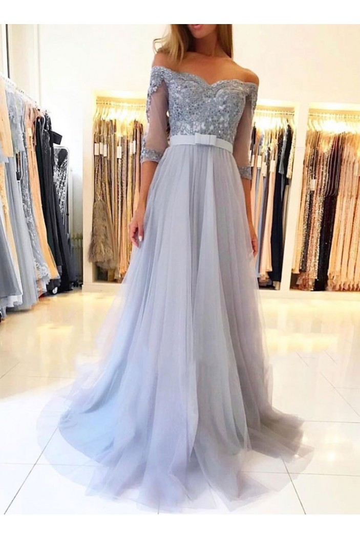 A-Line Off-the-Shoulder Lace Tulle Long Prom Dresses Formal Evening Gowns 601815
