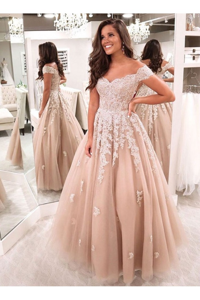 A-Line Off-the-Shoulder Lace Long Prom Dresses Formal Evening Gowns 601817