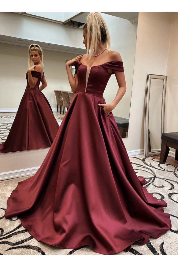 A-Line Off-the-Shoulder Long Prom Dresses Formal Evening Gowns 601819
