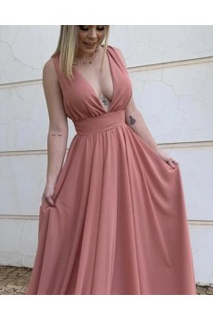 A-Line Chiffon V-Neck Long Prom Dresses Formal Evening Gowns 601820