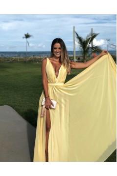 A-Line V-Neck Long Prom Dresses Formal Evening Gowns with Side Slit 601823