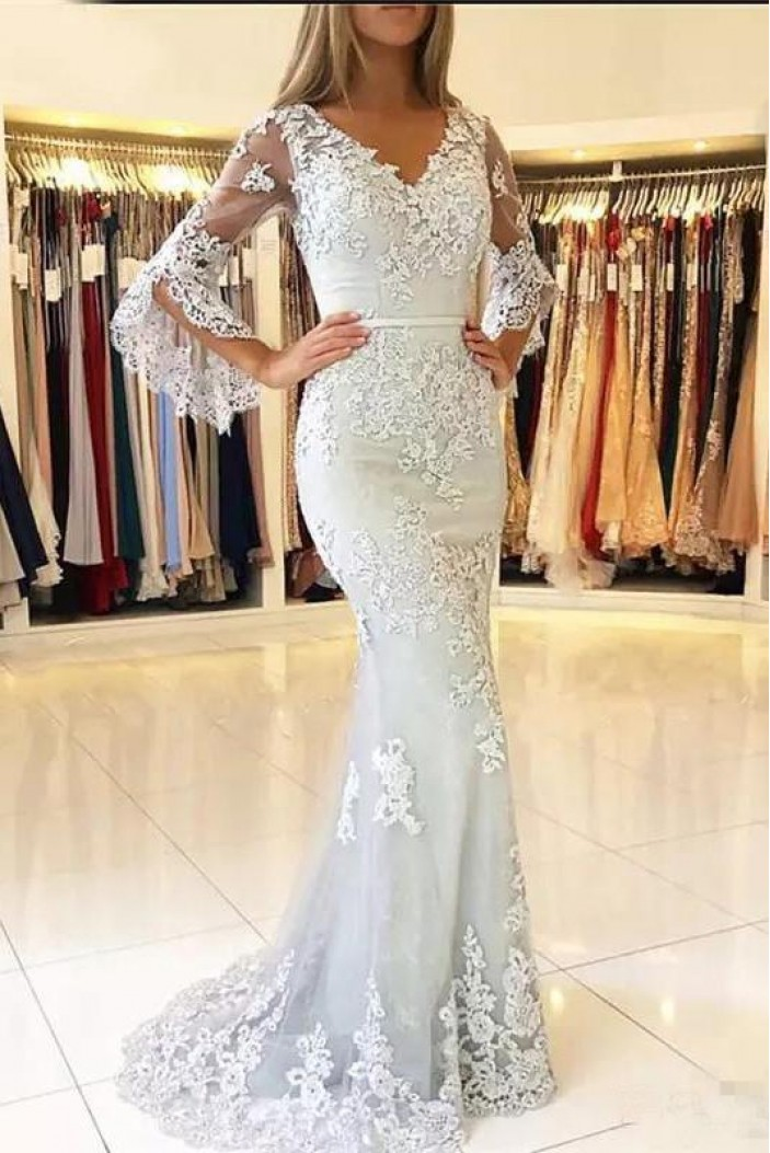 Elegant Mermaid Lace V-Neck Long Prom Formal Evening Gowns Mother of The Bride Dresses 601824