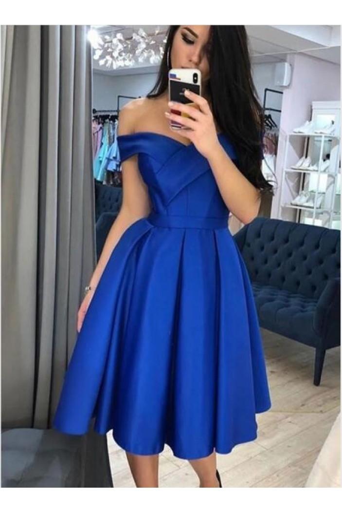 A-Line Off-the-Shoulder Short Prom Dresses Formal Evening Gowns 601825