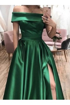 A-Line Off-the-Shoulder Long Prom Dresses Formal Evening Gowns With Pockets 601826