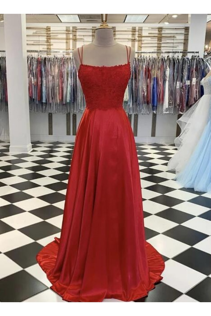 A-Line Spaghetti Straps Lace Long Prom Dresses Formal Evening Gowns 601827