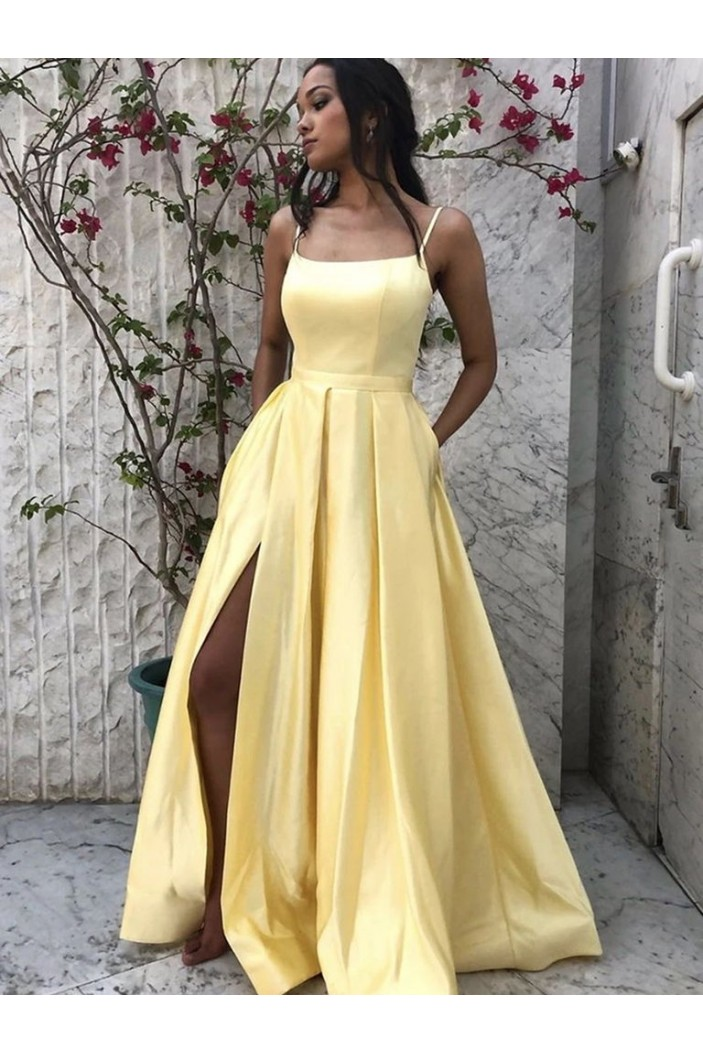 A-Line Spaghetti Straps Long Prom Dresses Formal Evening Gowns 601830